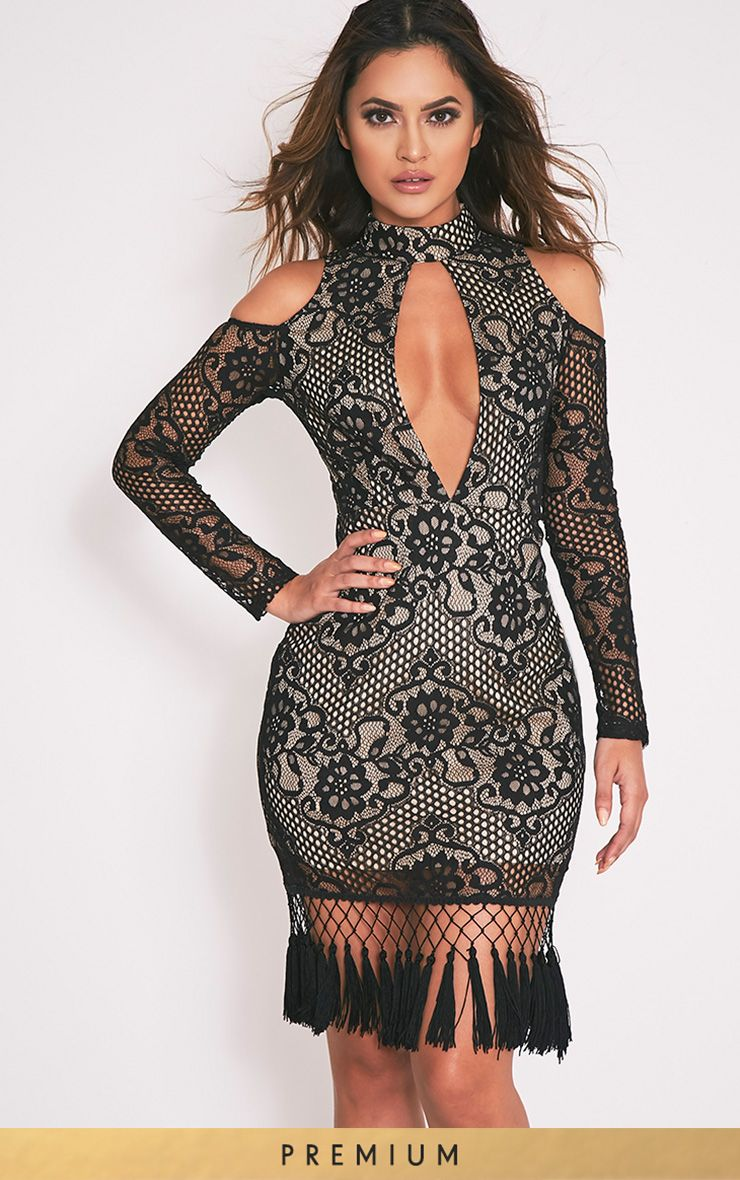 Krina Black Lace Tassel Detail Bodycon Dress 1