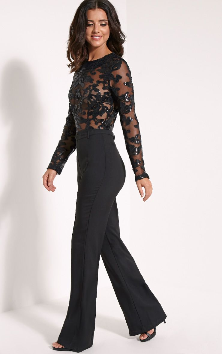 lindie black sequin pattern jumpsuit jumpsuits playsuits prettylittlething prettylittlething. Black Bedroom Furniture Sets. Home Design Ideas