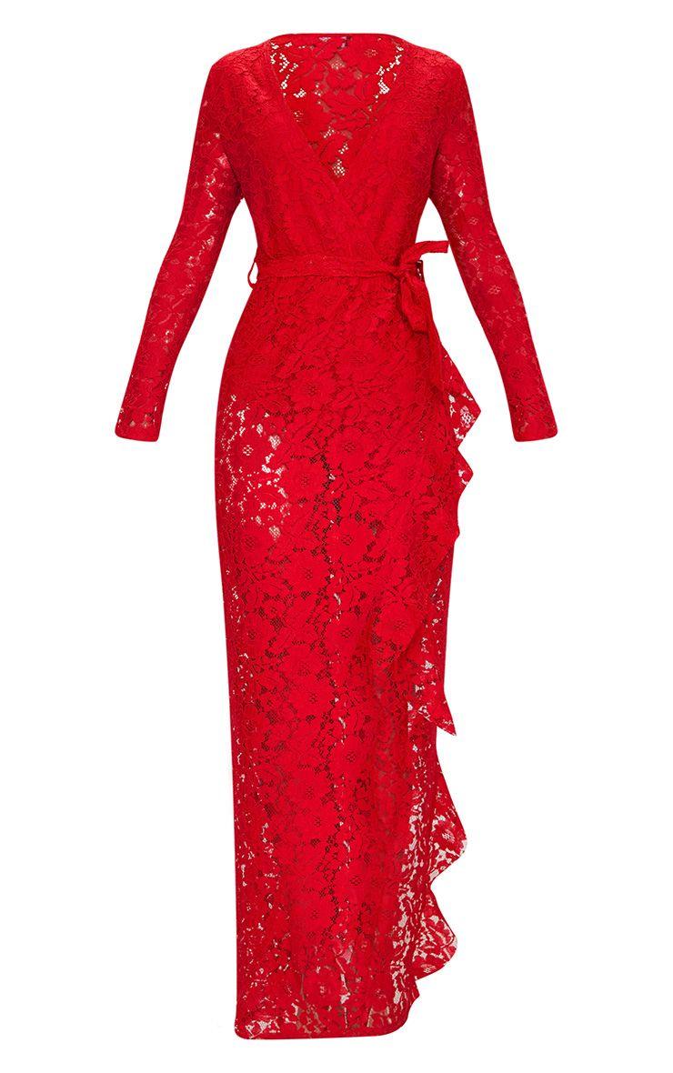 robe longue cache coeur en dentelle rouge manches longues. Black Bedroom Furniture Sets. Home Design Ideas