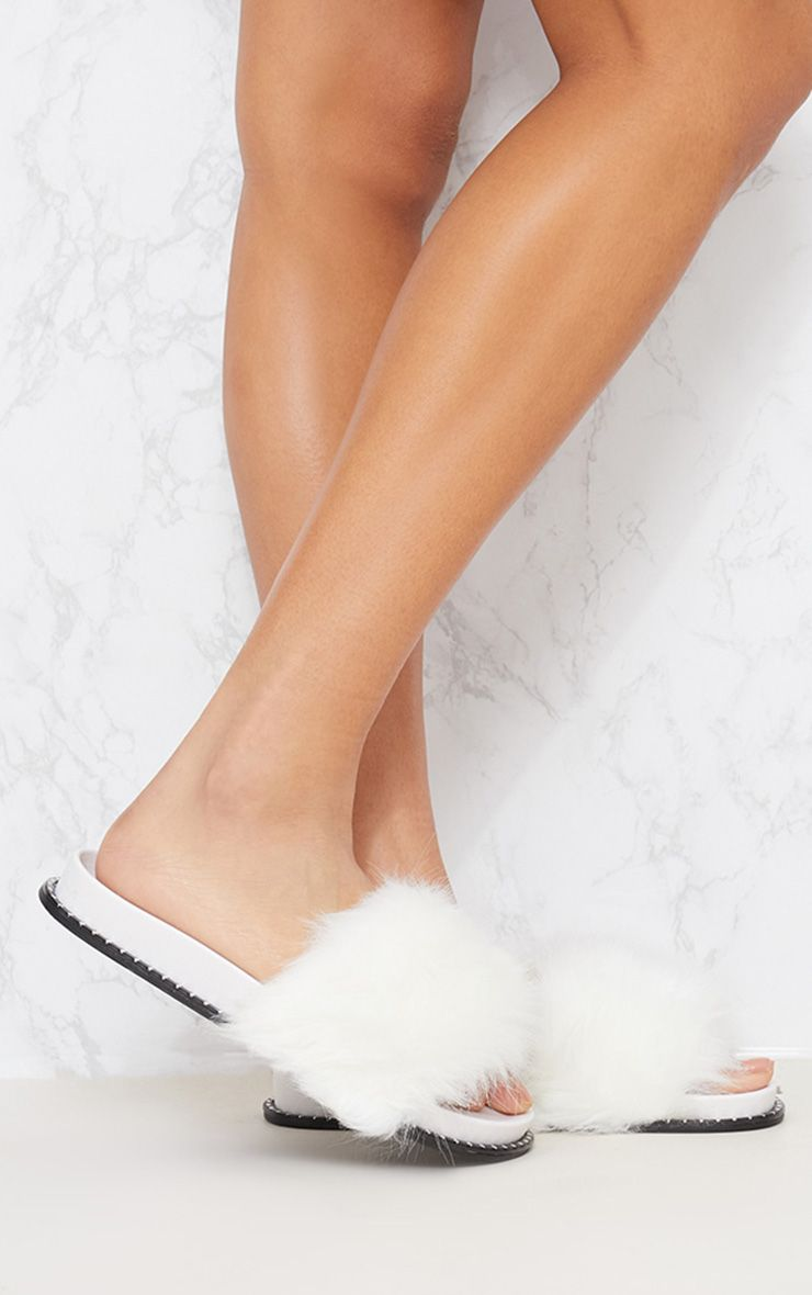 White Faux Fur Studded Sliders
