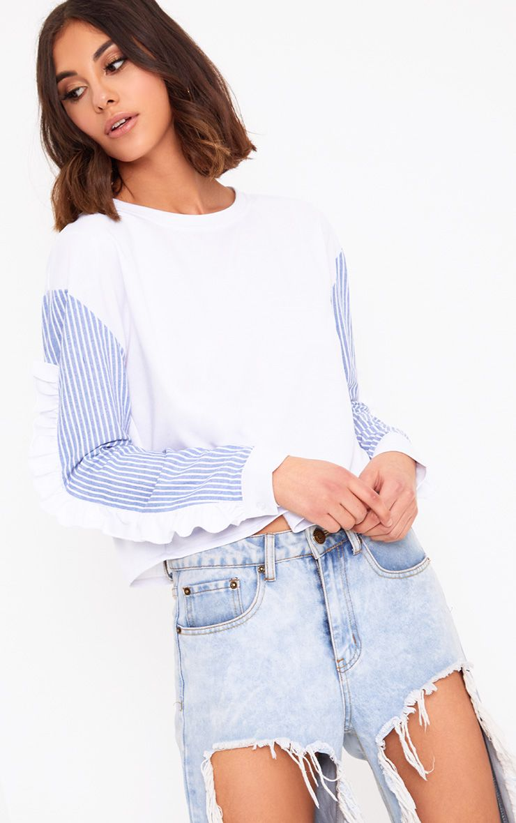 White Stripe Sleeve Frill Detail Sweater