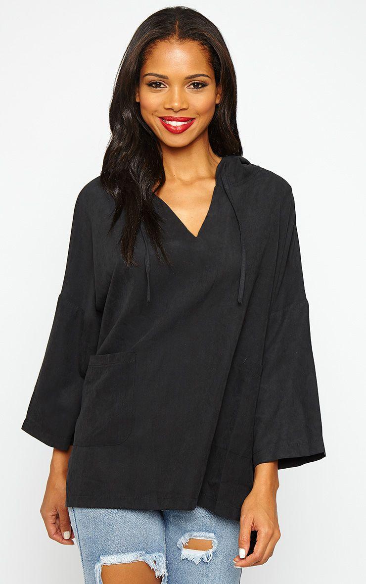 Laina Black Hooded Jacket