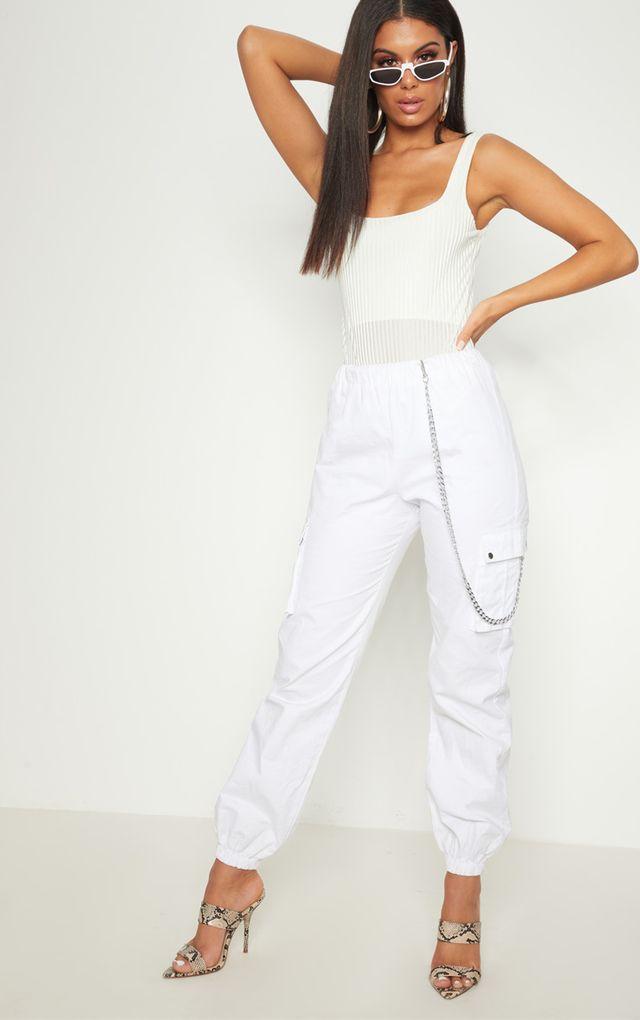 White Velvet Ribbed Square Neck Thong Bodysuit