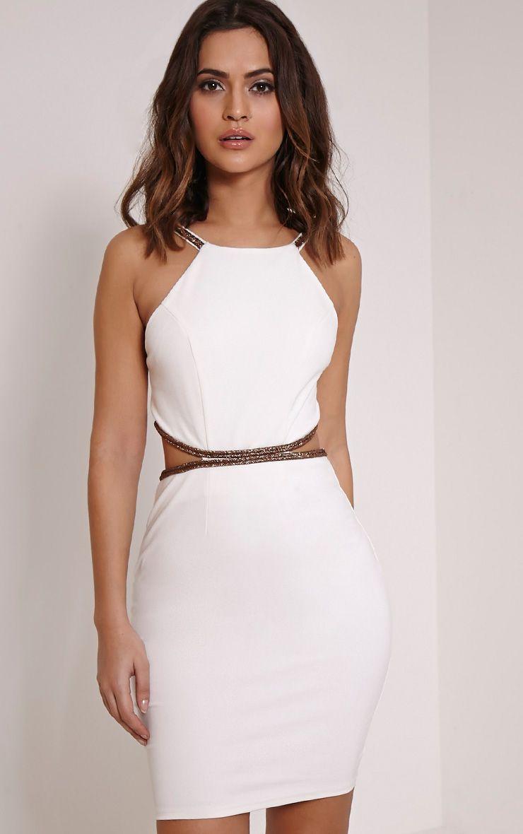 Sameena Cream Cut Out Mini Dress 1