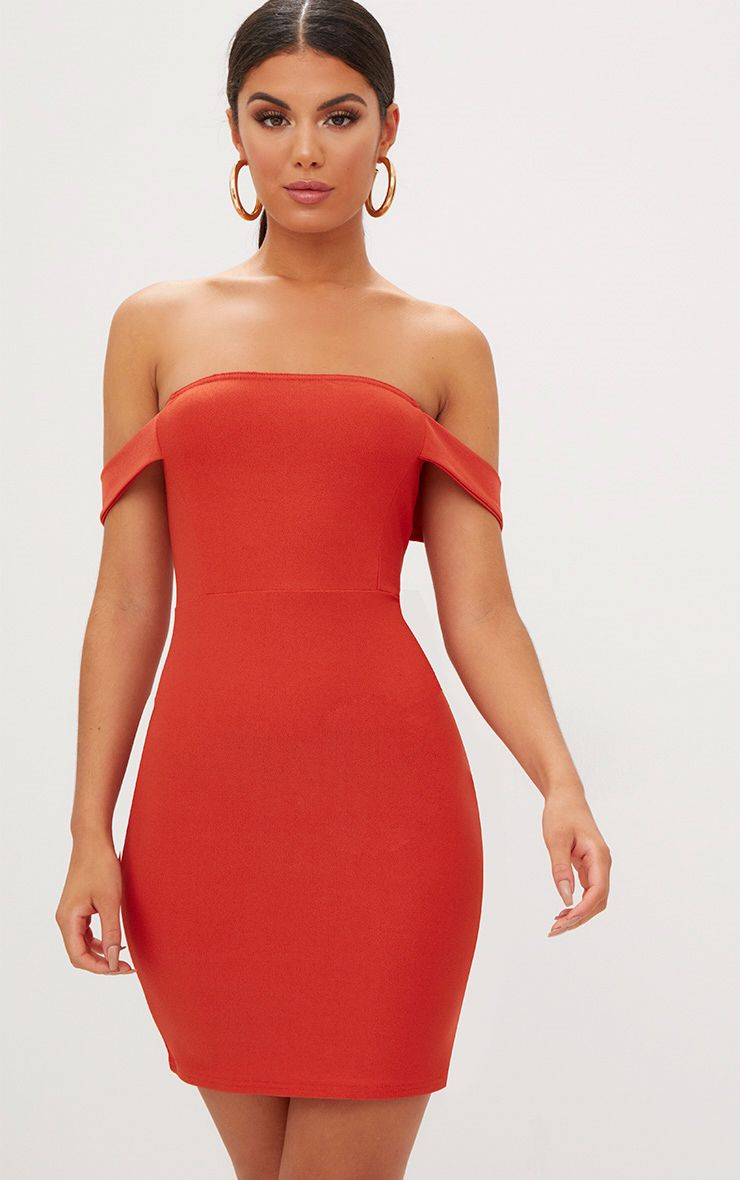 Burnt Orange Arm Detail Bandeau Bodycon Dress