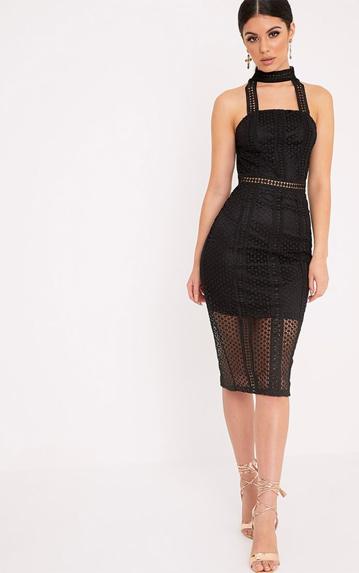Bella Black High Neck Lace Panel Midi Dress