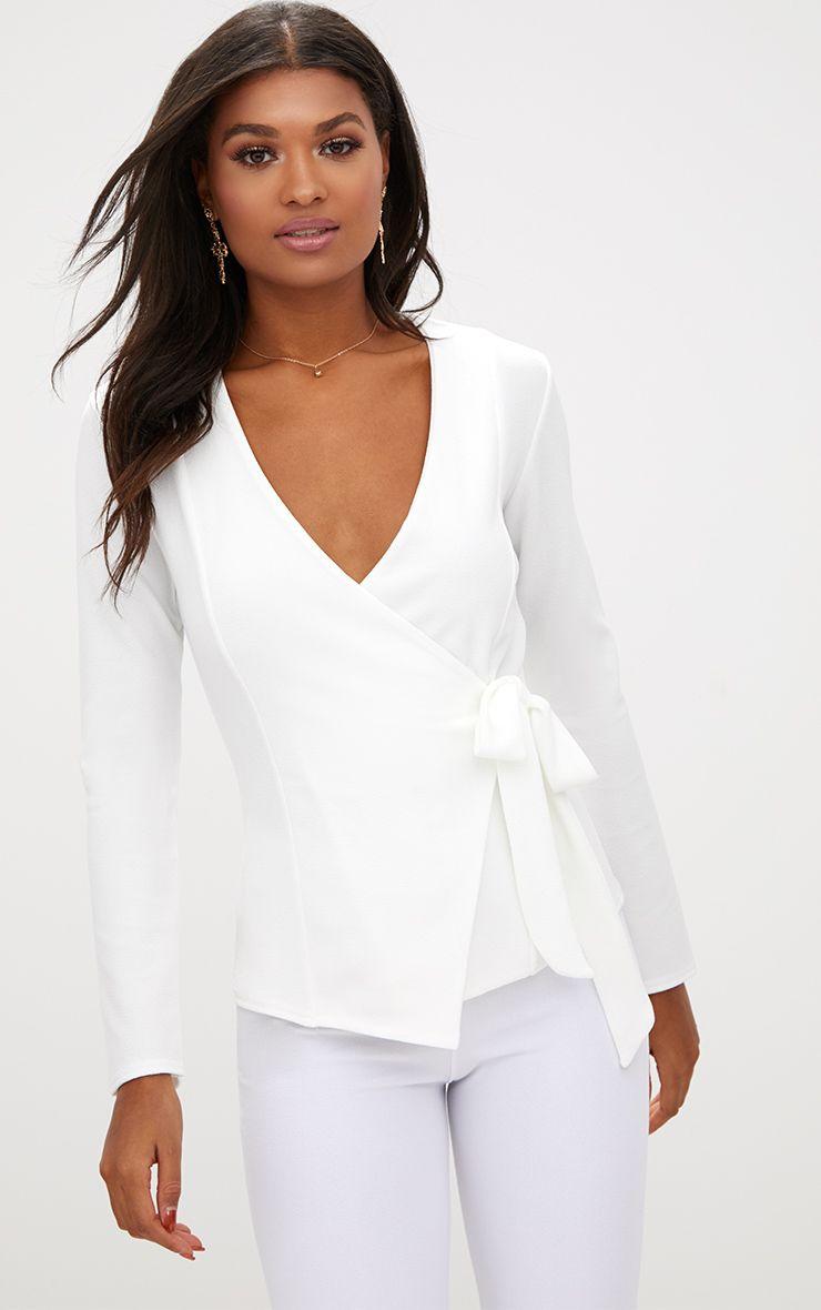 Cream Tie Side Belted Blazer