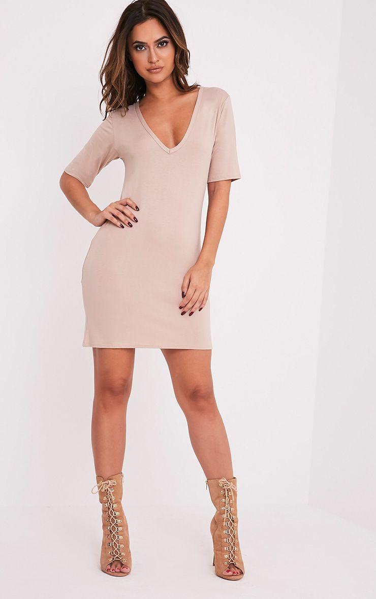 Basic Nude Plunge V Neck T Shirt Dress Dresses