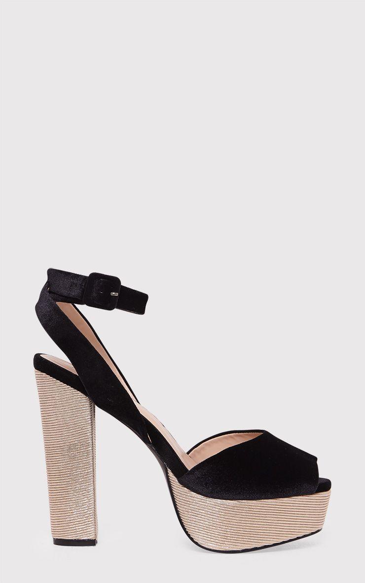 Dianne Black Velvet Platform Heels