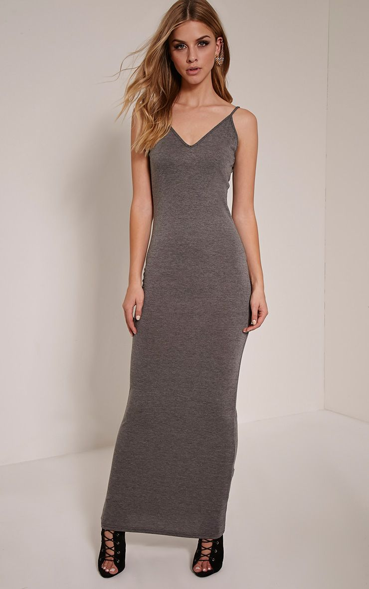 Basic Charcoal Scoop Back Maxi Dress 1