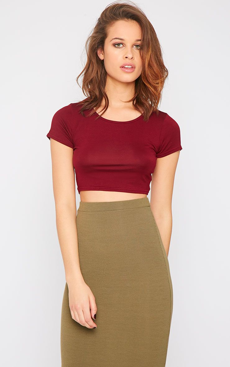 Simone Burgundy Short Sleeve Crop Top 1