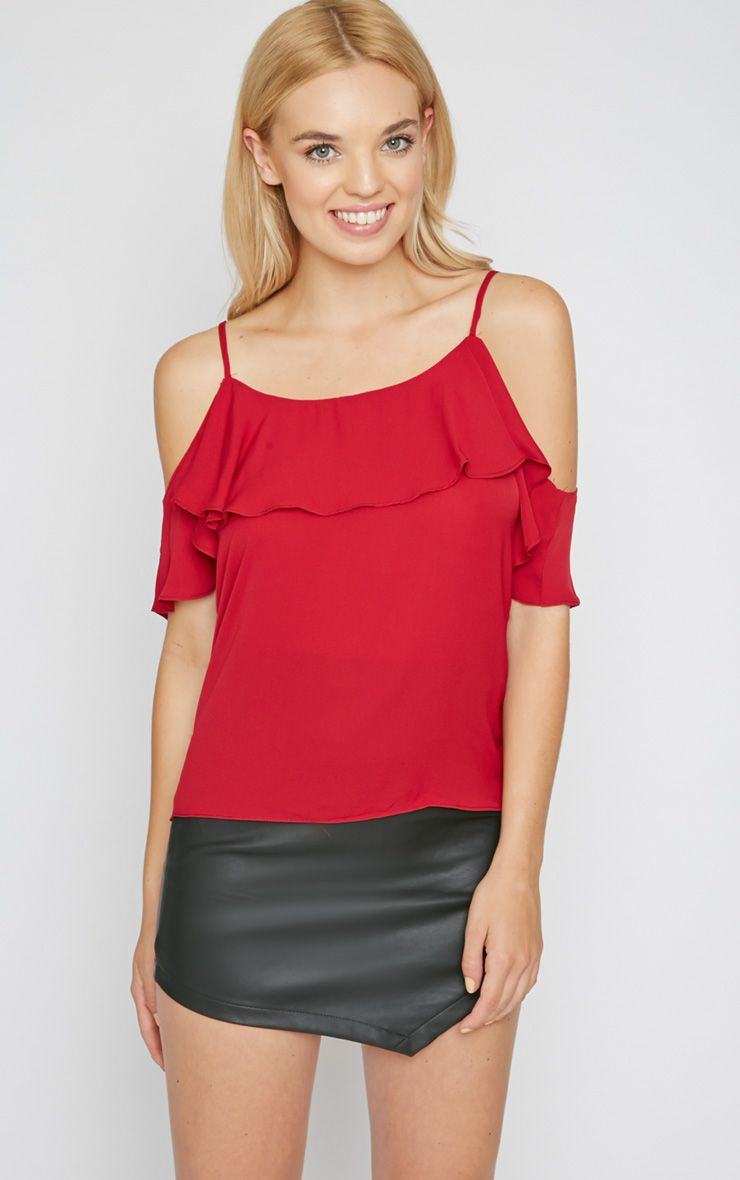 Nyla Wine Cut Out Frill Cami  1