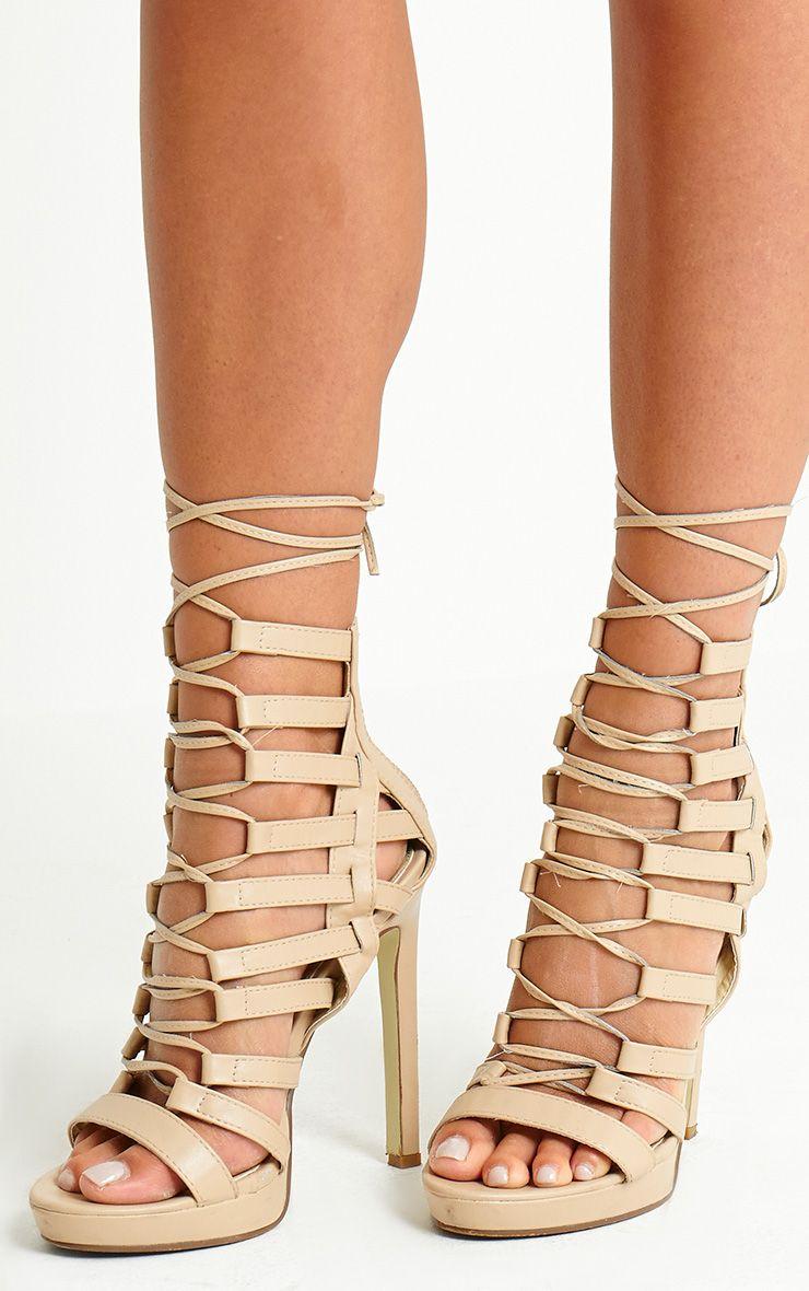 Adria Nude PU Strappy Platform Heels 1