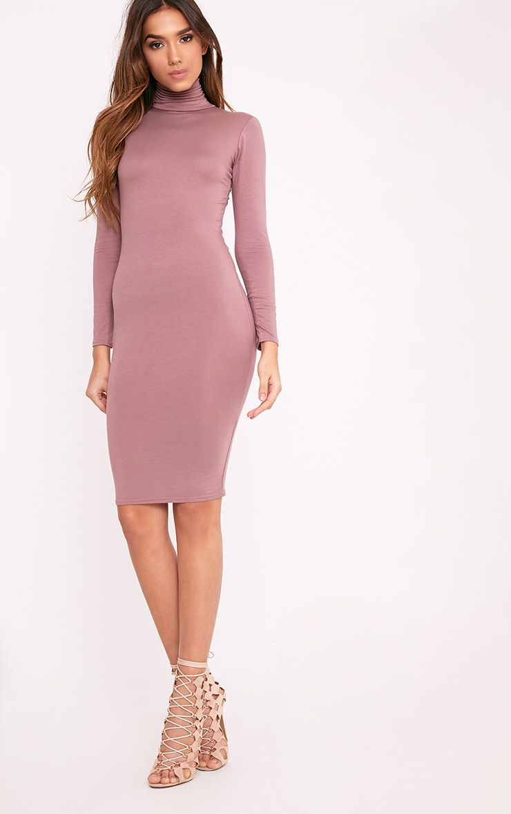 Basic Truffle Roll Neck Midi Dress