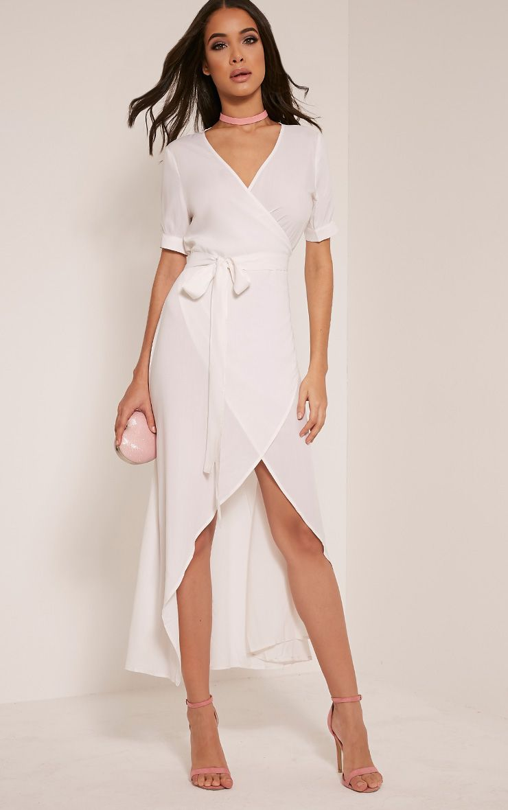 Renesmee White Wrap Maxi Shirt Dress 1