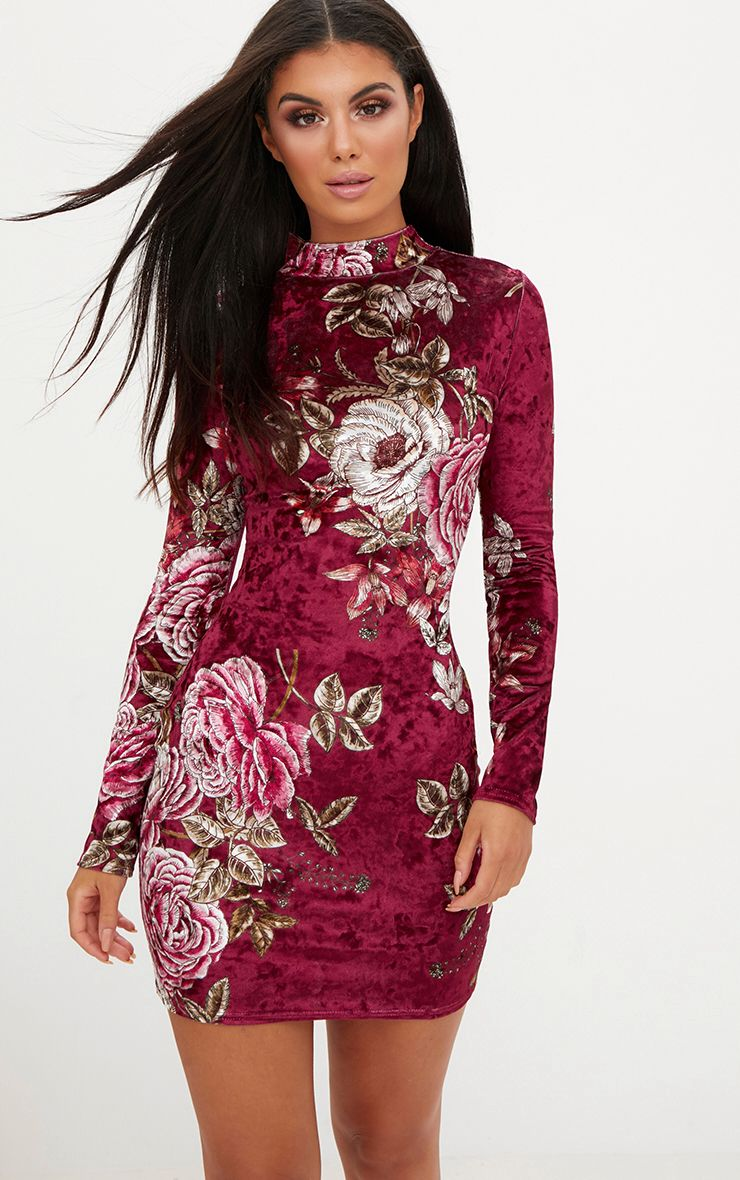 Berry Long Sleeve Floral Velvet Bodycon Dress