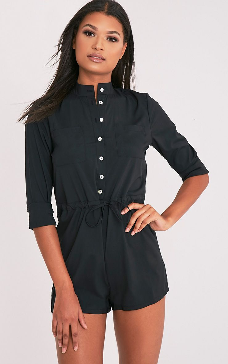 Alarna Black Round Collar Shirt Playsuit