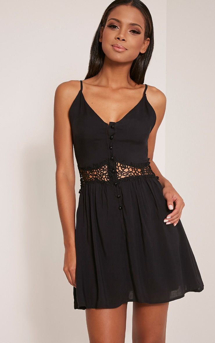 Oana Black Button Down Crochet Insert Skater Dress 1