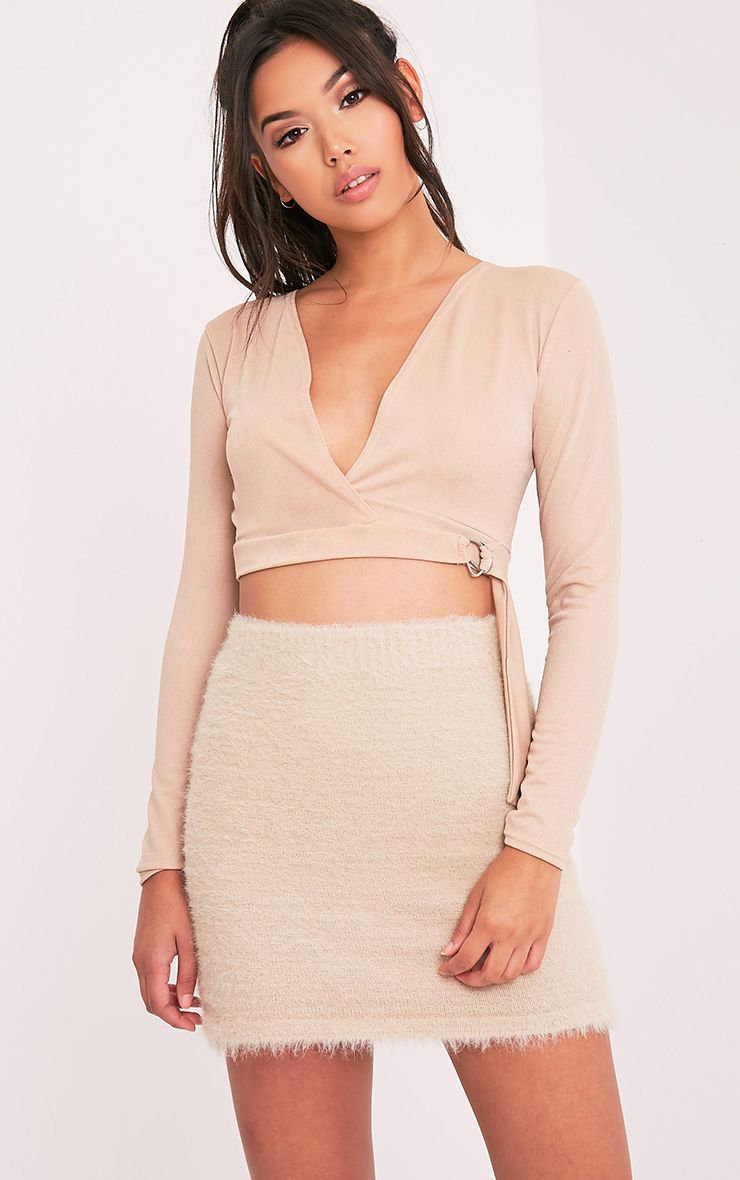 Lyra Stone D Ring Wrap Longsleeve Crop Top