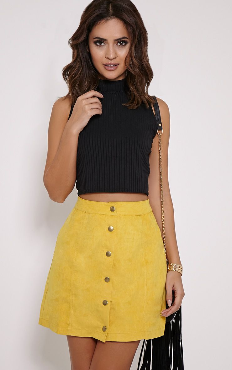Cheryl Mustard Suede Button Front Skirt Skirts