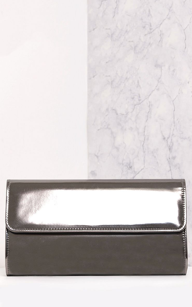 Molta Pewter Mirrored Clutch