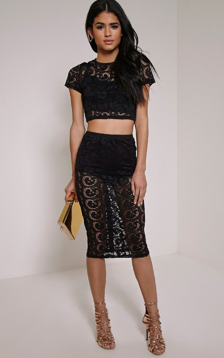 Bethzy Black Lace Button Down Back Midi Skirt 1