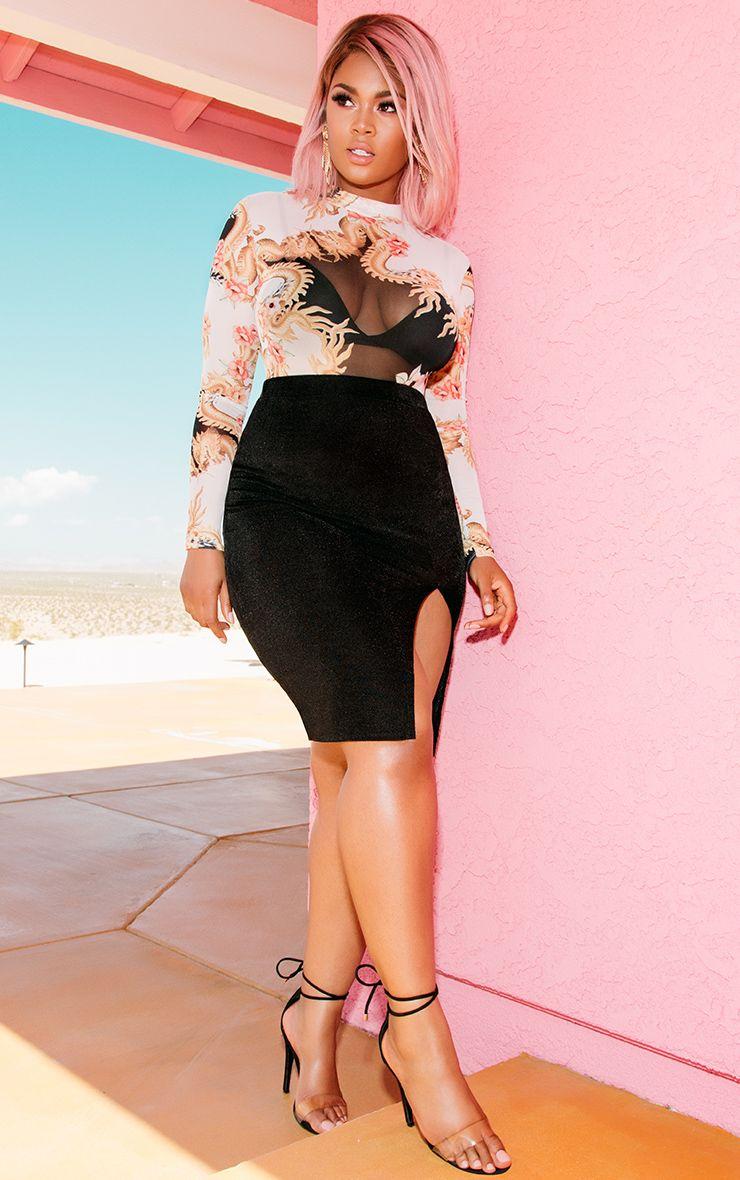 Black Double Layer High Split Midi Skirt