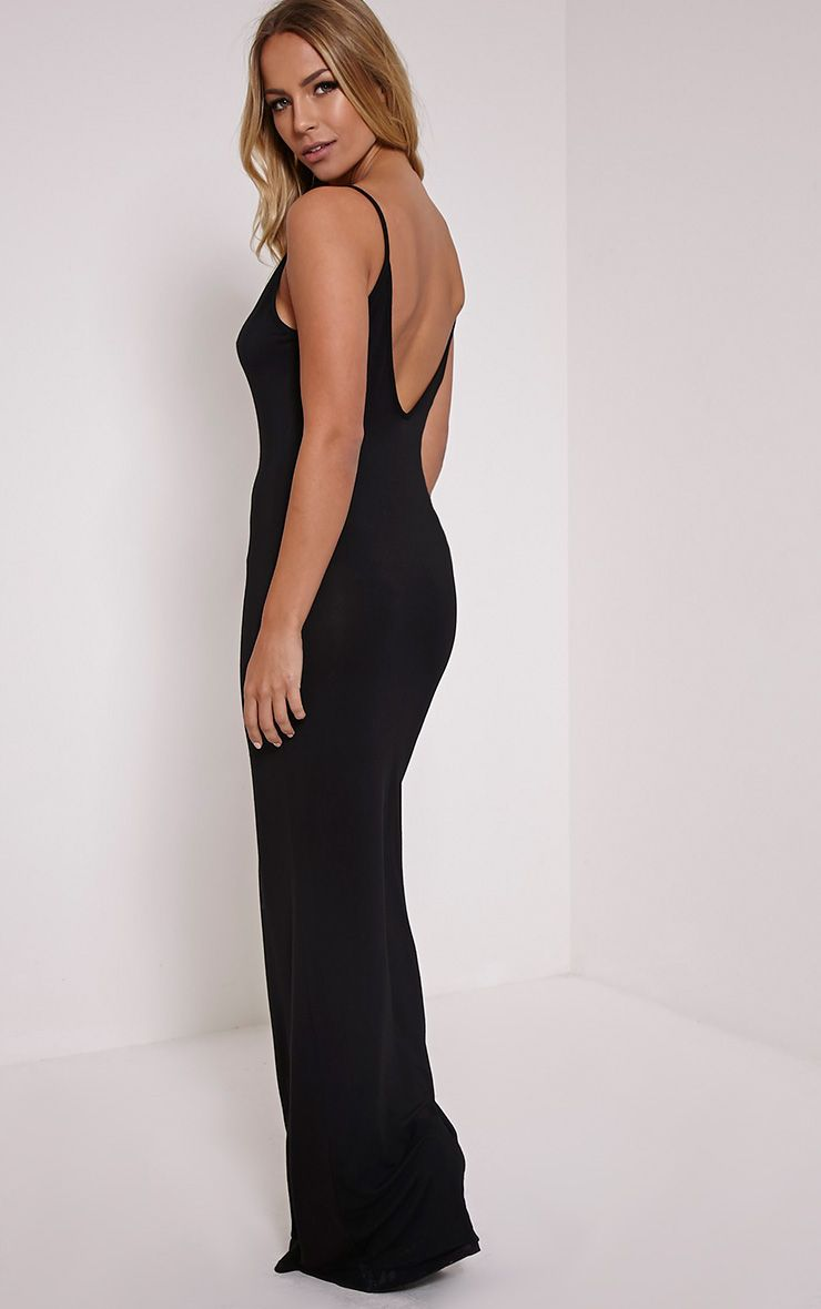 Basic Black Scoop Back Maxi Dress