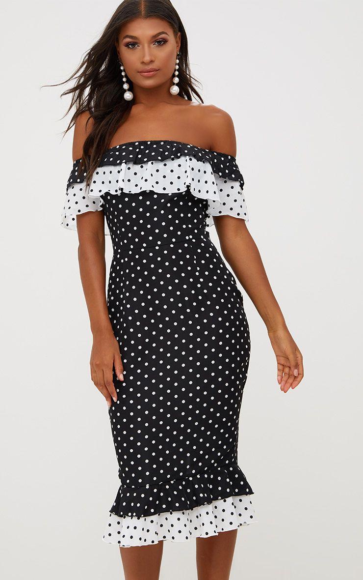 Black Chiffon Polkadot Frill Bardot Midi Dress