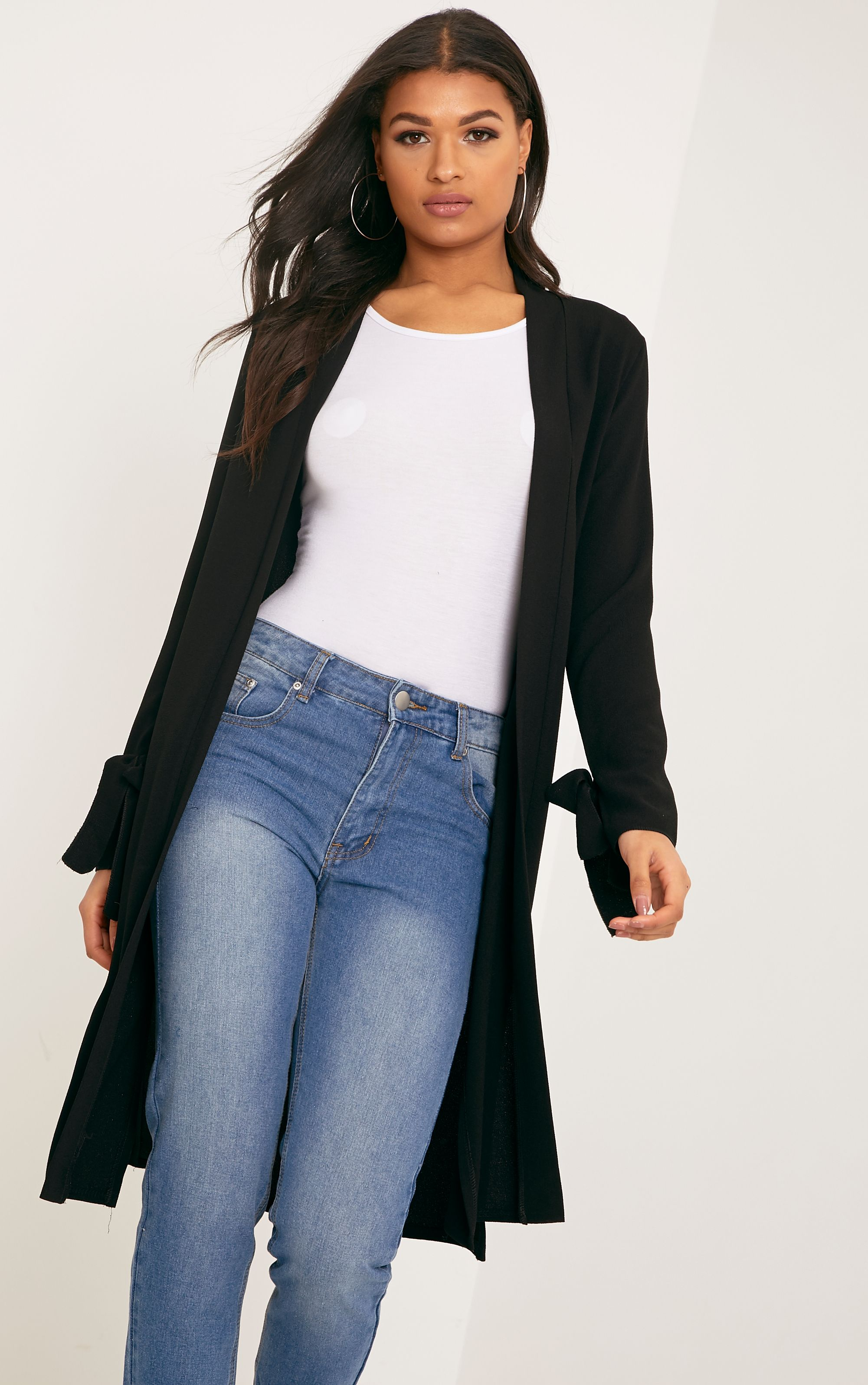 Aba Black Sleeve Tie Detail Duster Coat