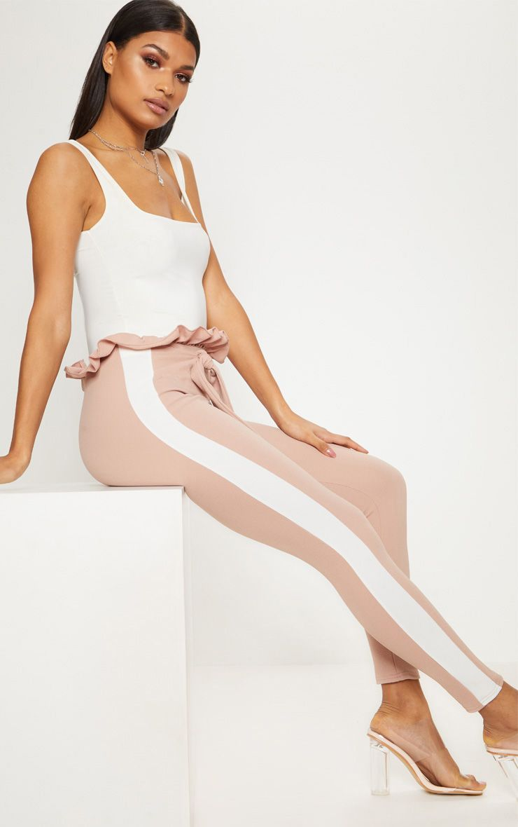 Stone Side Stripe Paperbag Skinny Trousers