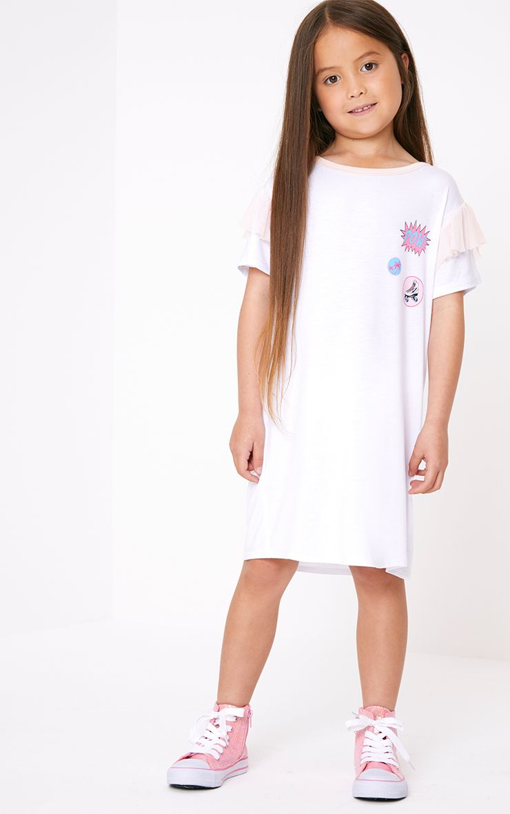 Mesh Detail Printed White T Shirt Dress