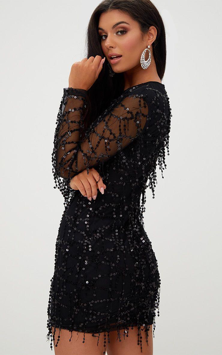 Black Sequin Detail Long Sleeve Mini Dress Pretty Little Thing Ib2BON
