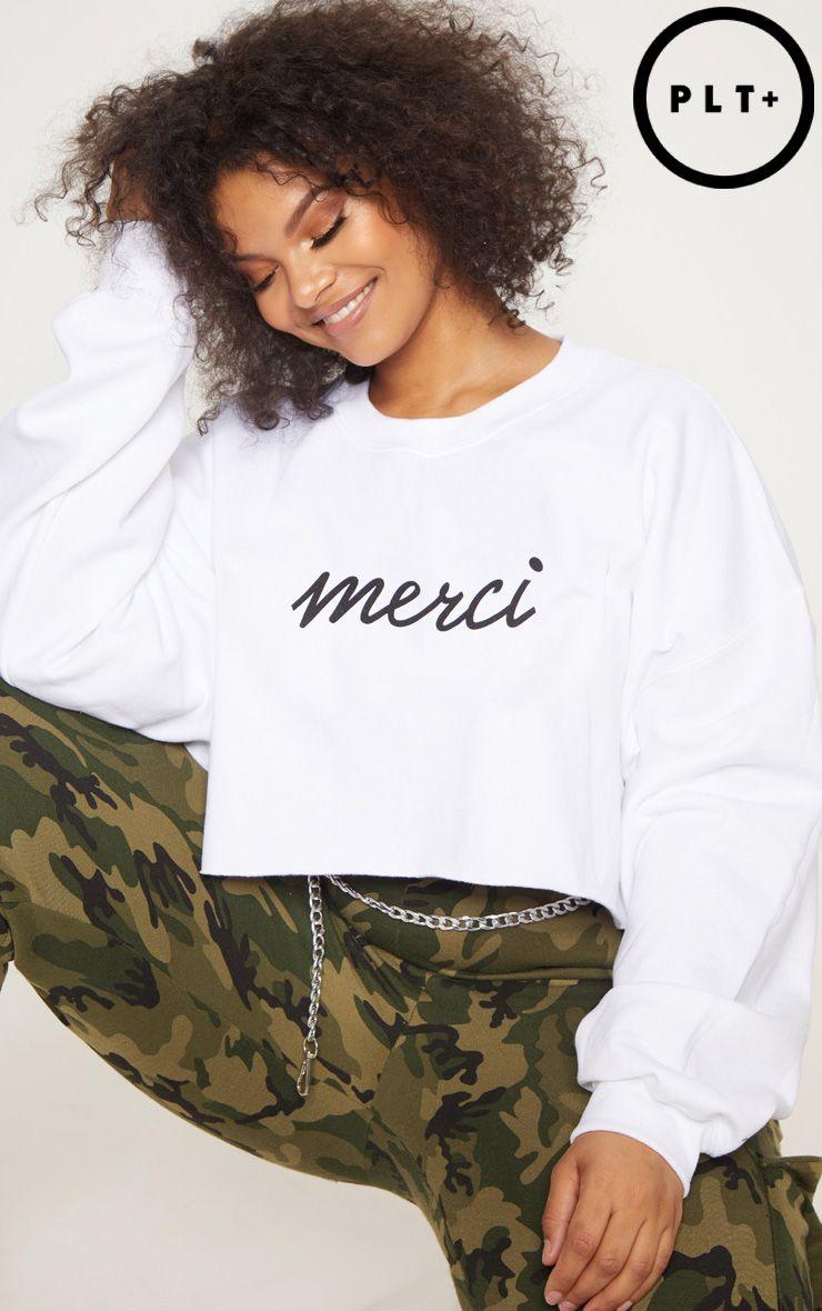 Plus White Merci Slogan Cropped Sweater