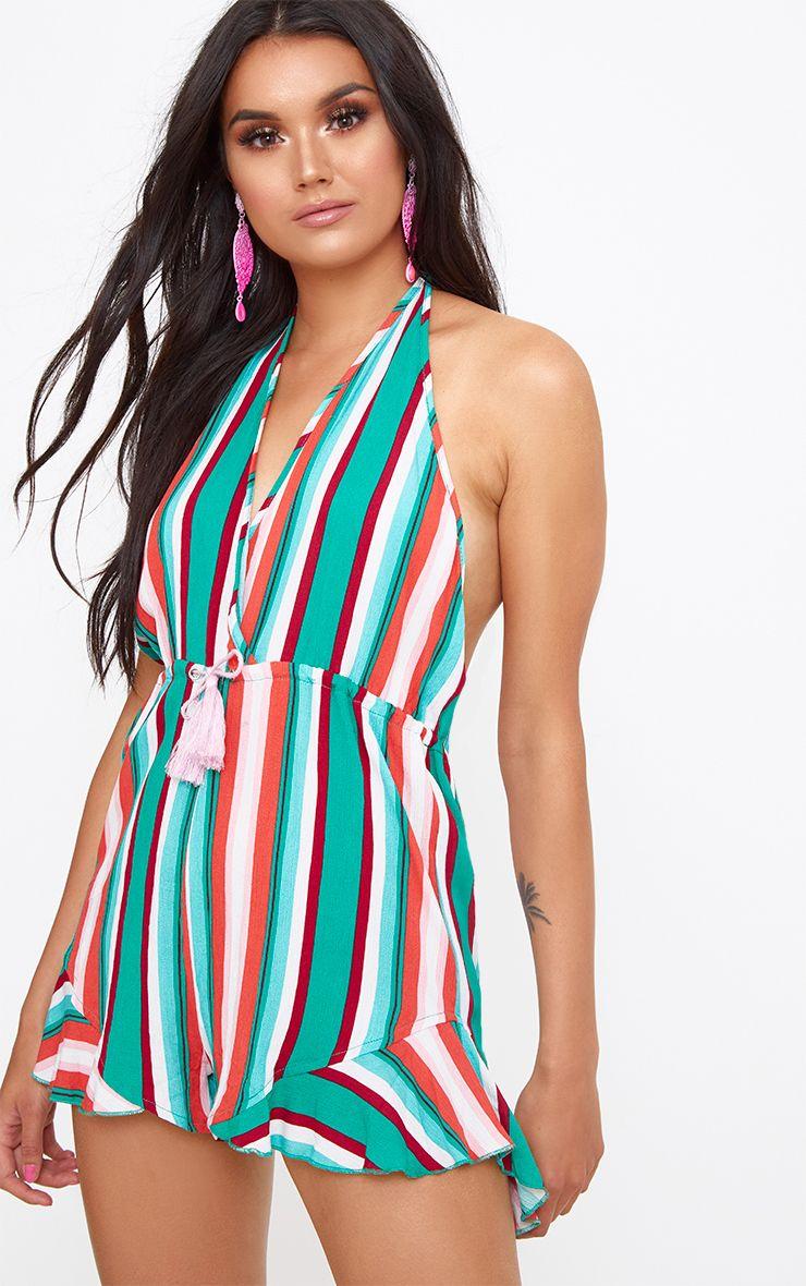 Kelis Green Stripe Beachwear Playsuit