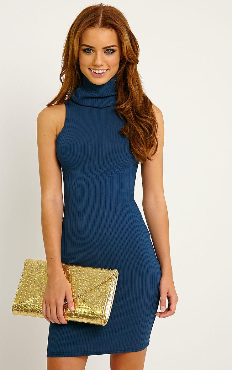 Marissa Teal Ribbed Turtle Neck Mini Dress 1
