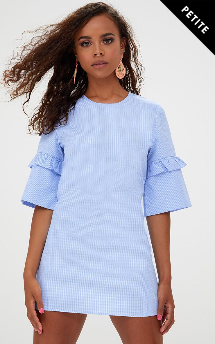 Petite Blue Frill Sleeve Shift Dress
