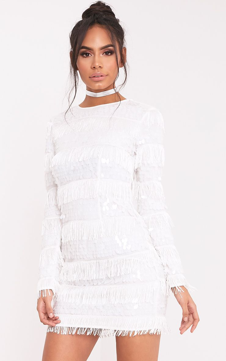 Merisa White Sequin Fringed Bodycon Dress