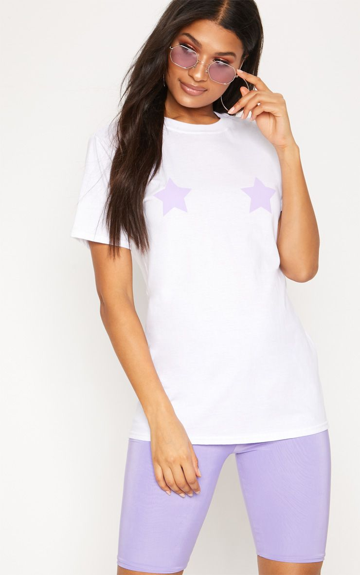 Lilac Star Print Oversized T Shirt