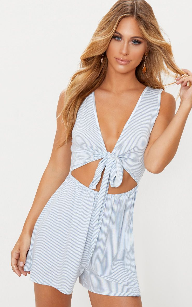Powder Blue Stripe Sleeveless Front Tie Playsuit
