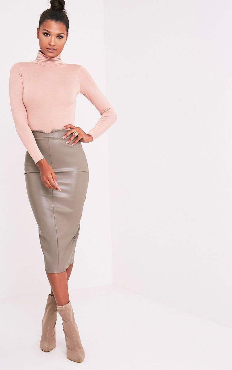 Eva Taupe Faux Leather Panel Midi Skirt