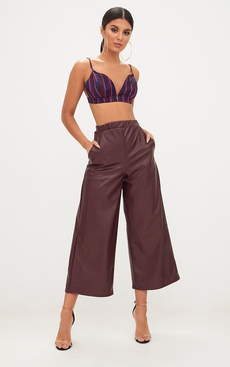 Burgundy Faux Leather Cropped Leg Trousers