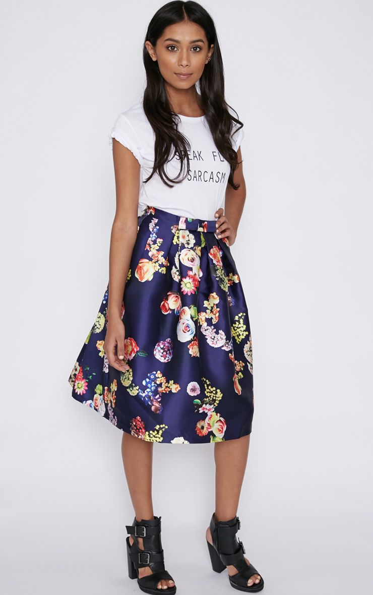 Harley Navy Floral Print A-Line Skirt 1