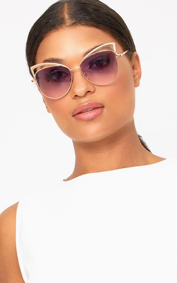 Lilac Lens Cat Eye Bordered Sunglasses