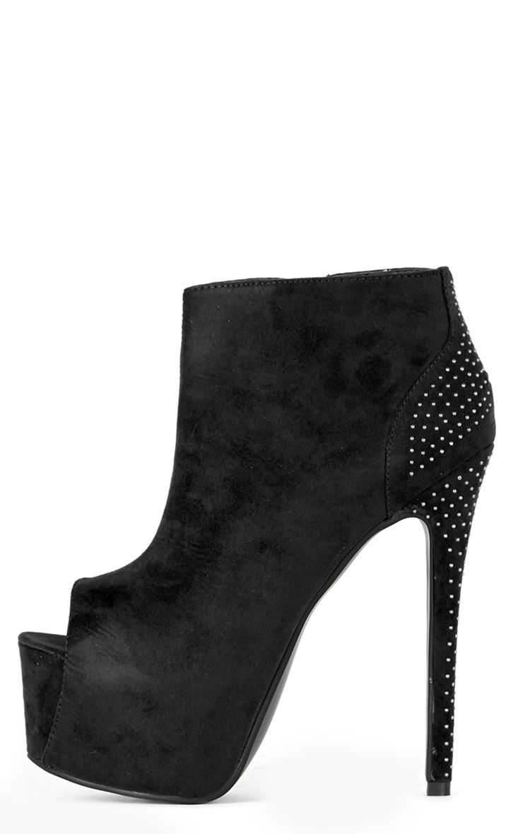 Ida Black Peep Toe Ankle Boots  1