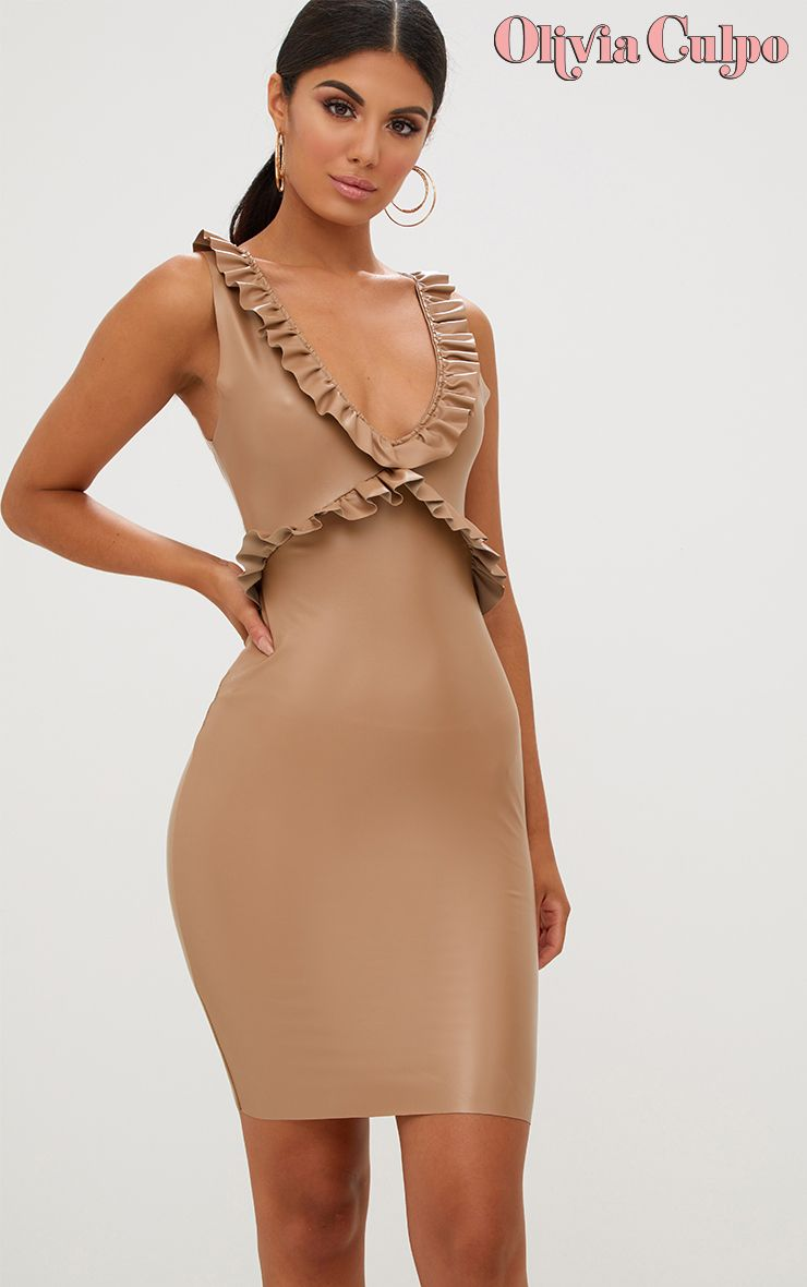 Tan Faux Leather Frill Detail Bodycon Dress