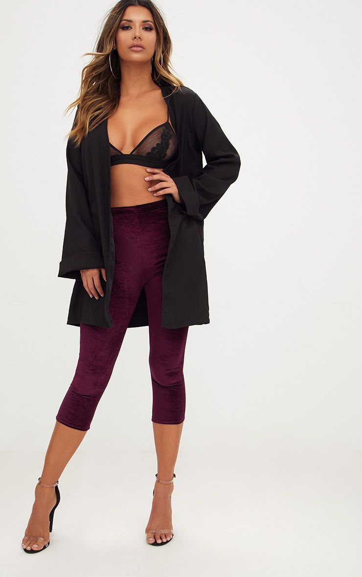 Plum Cropped Velvet Leggings