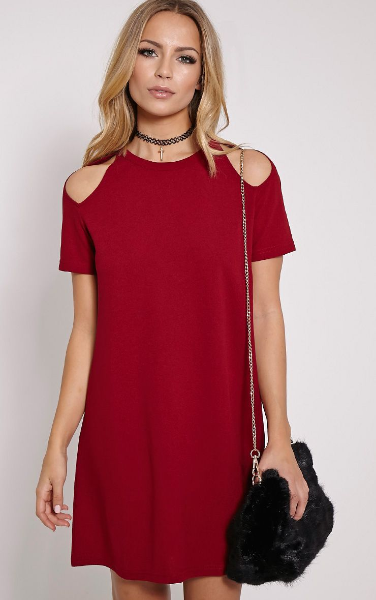 Sandie Wine Cold Shoulder Shift Dress 1