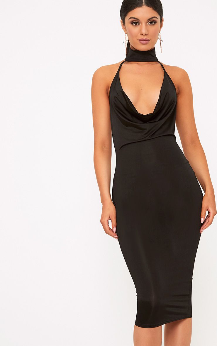 Jaylani Black Slinky Cowl Neck Midi Dress