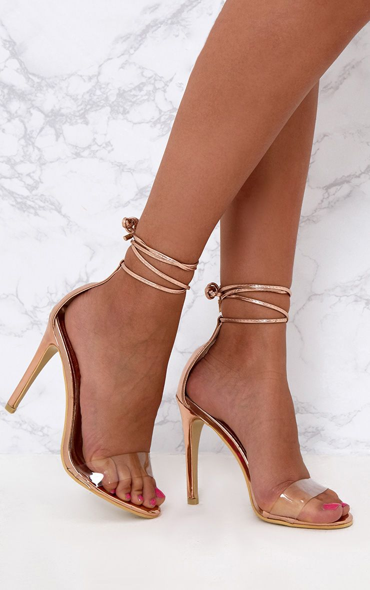 Rose Gold Clear Strap Ankle Tie Heels